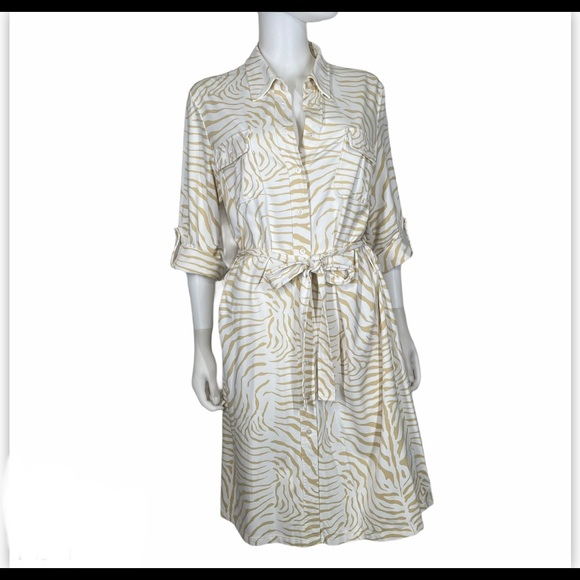 J Mclaughlin XL Shirtdress Zebra Dress Stretch